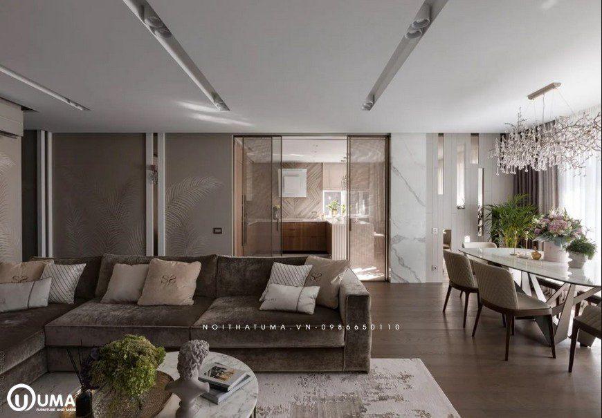 Bộ sofa sang trọng, cao cấp tại phòng khách nhà bác Vĩnh