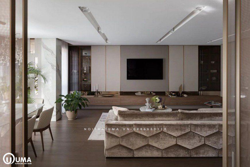 Chiếc bàn nhỏ nhắn được đặt giữa không gian, khá phù hợp với bộ sofa hiện đại.