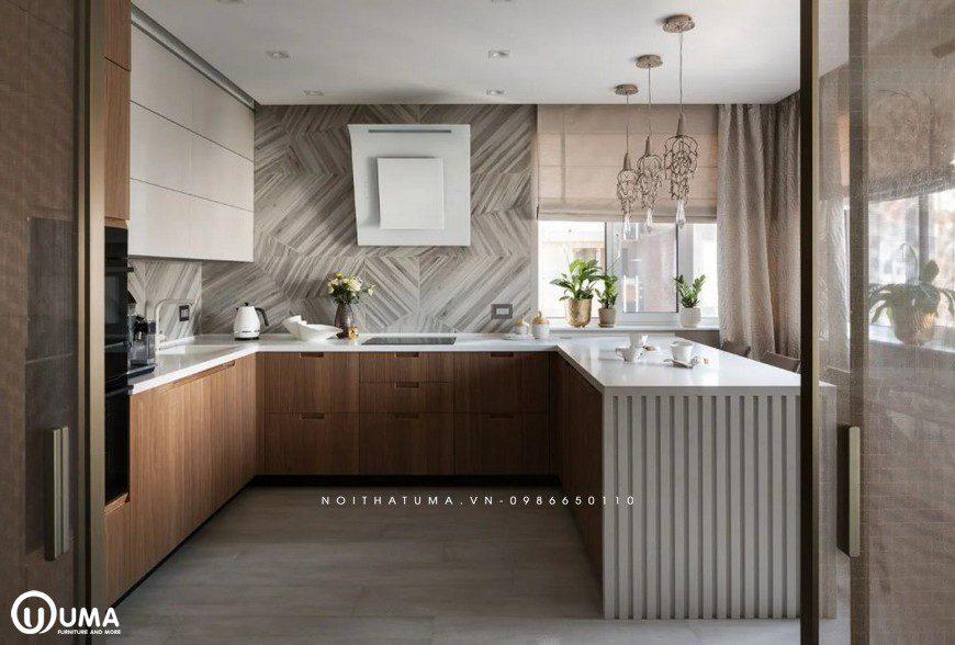 Phòng bếp là cả một không gian ấm cúng với mẫu thiết kế tủ bếp chữ U
