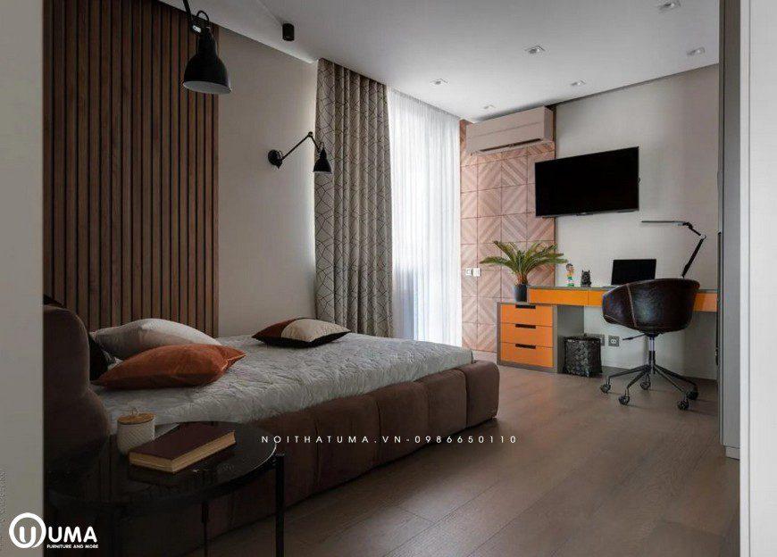 Phòng ngủ với màu sắc không gian nội thất vẫn giữa màu nâu