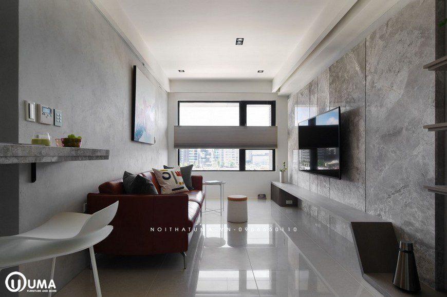 Nội thất phòng khách được thiết kế theo hướng hiện đại, tối giản