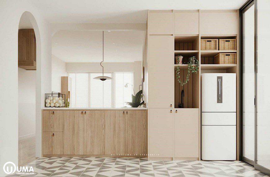 Thiết kế khá nhỏ gọn theo lối song song, giúp tiết kiệp diện tích của căn hộ.