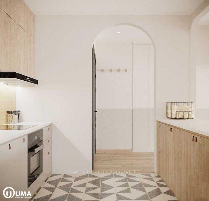 Cửa ra vào cũng được thiết kế vòng cung khá hiện đại, và mới lạ tạo ra sự uyển chuyển cho căn hộ.