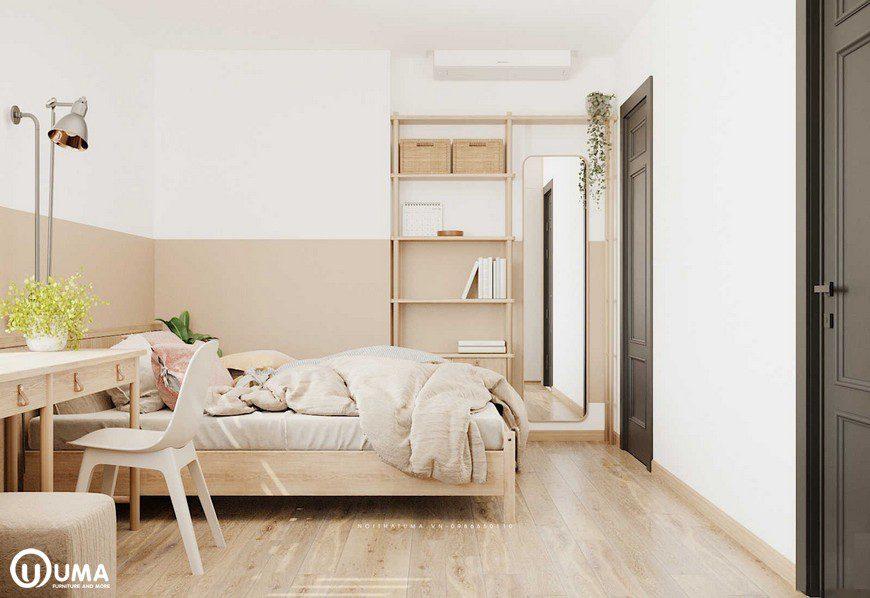 Phòng ngủ được thiết kế với màu sắc tương sáng và hiện đại.
