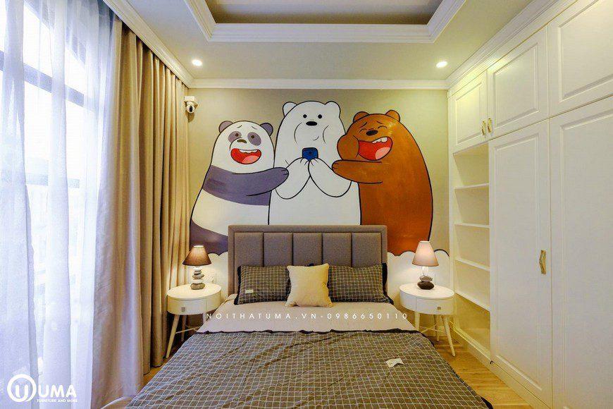 Bức tranh hình thủ lớn, đã được KTS tạo ra ngay đầu giường cho trẻ.