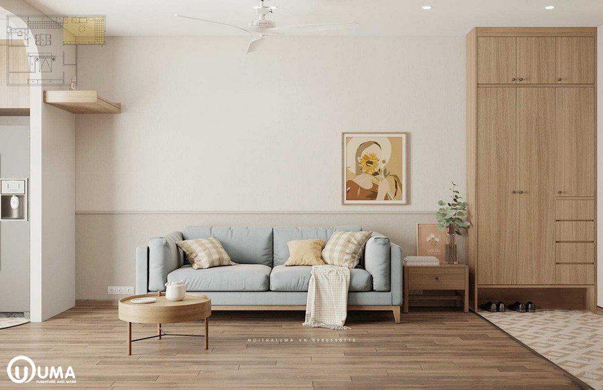 Bộ sofa sử dụng màu xanh nhạt khác biệt với nội thất gỗ màu cánh dán