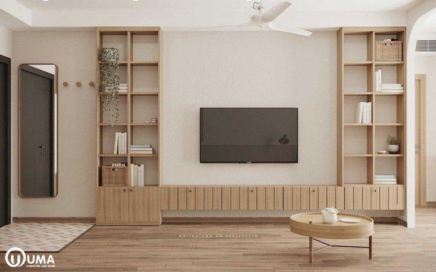 Kệ tivi được thiết kế cũng khá đơn giản, sử dụng gỗ MDF cao cấp An Cường