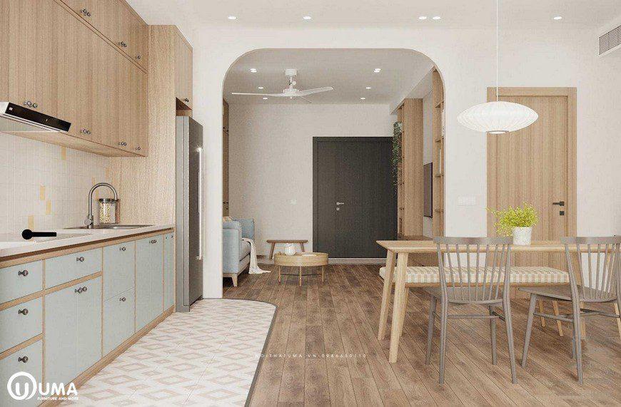 Thẳng cửa phòng khách đi vào là không gian phòng bếp, được trang bị khá đơn giản và đầy đủ tiện nghi