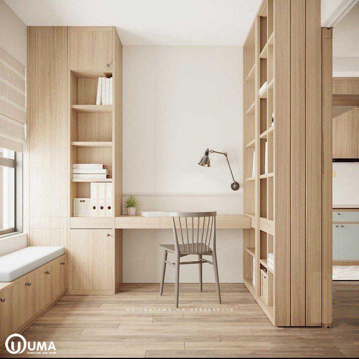 Toàn bộ nơi đây được trang bị với tủ trang trí bằng gỗ MDF cao cấp An Cường