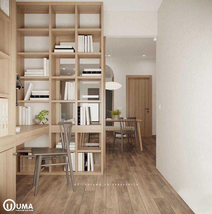 Chiếc tủ sách được dựng trong phòng đọc sách, vừa giúp để trang trí