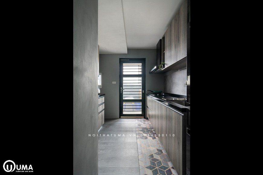 Hướng thẳng phòng bếp đi ra được trang bị trong một lối đi riêng
