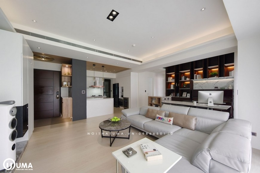 Tại một góc nhìn nào đó của phòng khách đã bao chùm được toàn bộ không gian của căn hộ