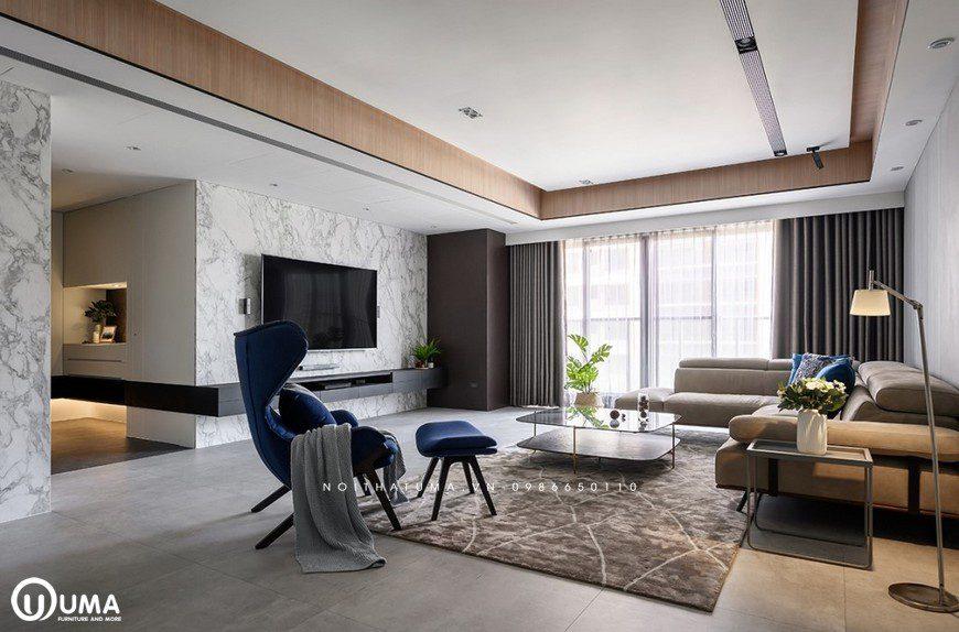 Toàn bộ không gian phòng khách được hưởng trọng ánh sáng tự nhiên chiếu vào căn phòng thông qua cửa sổ sổ ban công lớn
