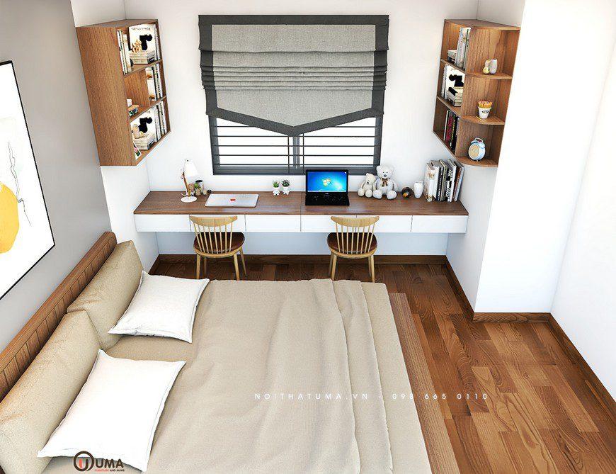 Bên cạnh chiế giường là bàn làm việc được thiết kế bắn vào tường ngay hướng cửa sổ, giúp chủ nhân hưởng trọn ánh sáng tự nhiên chiếu vào căn phòng, mang lại một cảm giác thoải mái dễ chịu khi ngồi nơi đây làm việc.