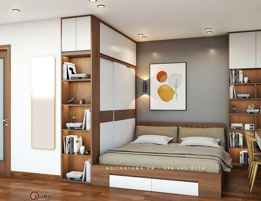 Với phòng ngủ master có diện tích rộng nhất, trong đó anh Hùng đã lựa chọn với tông màu chủ đạo là màu sáng trắng tự nhiên. Với chiếc giường hộp được đặt giữa phòng, trên đầu giường được trang bị với mảng tường màu xám có trang trí bức tranh nghệ thuật làm điểm nhấn cho căn phòng.