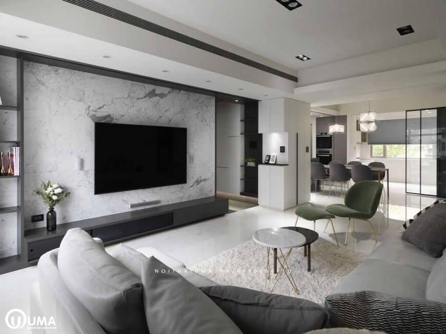 Không gian phòng khách được thiết kế nội thất bộ bàn tròn 2 tầng