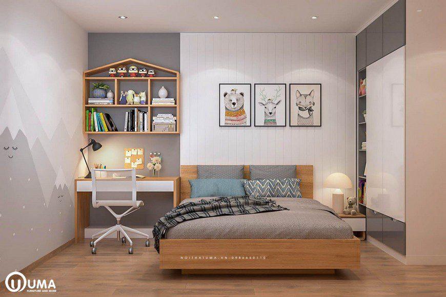 Thiết kế nội thất phòng ngủ con nhà chị Mai tại chung cư Mipec Long Biên