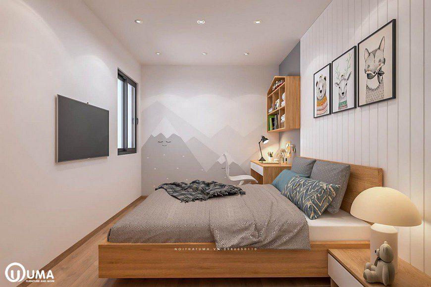Thiết kế nội thất phòng ngủ nhỏ nhà chị Mai tại chung cư Mipec
