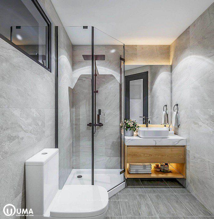 Thiết kế nội thất phòng vệ sinh master nhà chị Mai