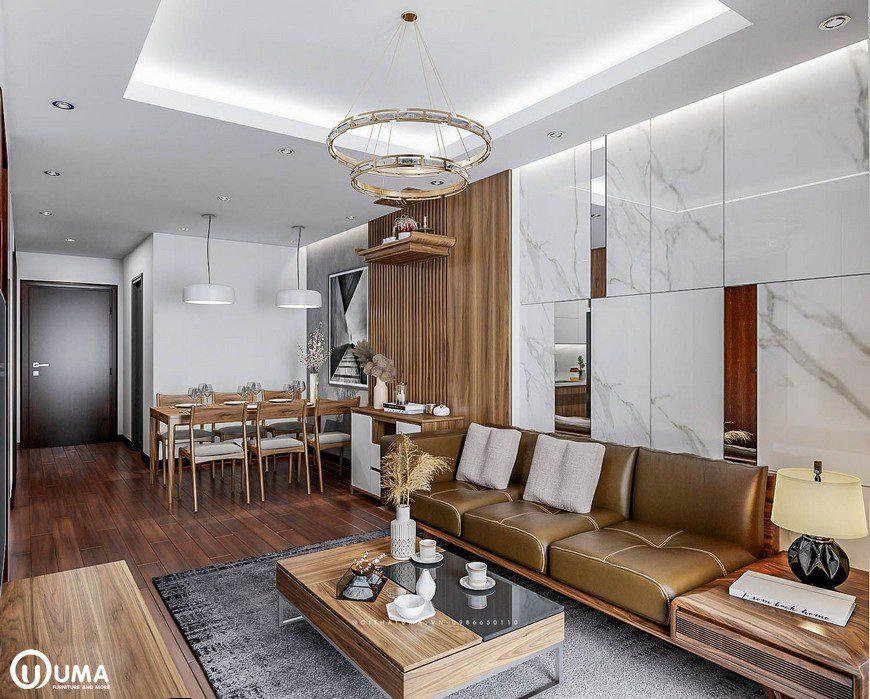 Thiết kế nội thất phòng khách tại chung cư Mipec Long Biên nhà chị Mai