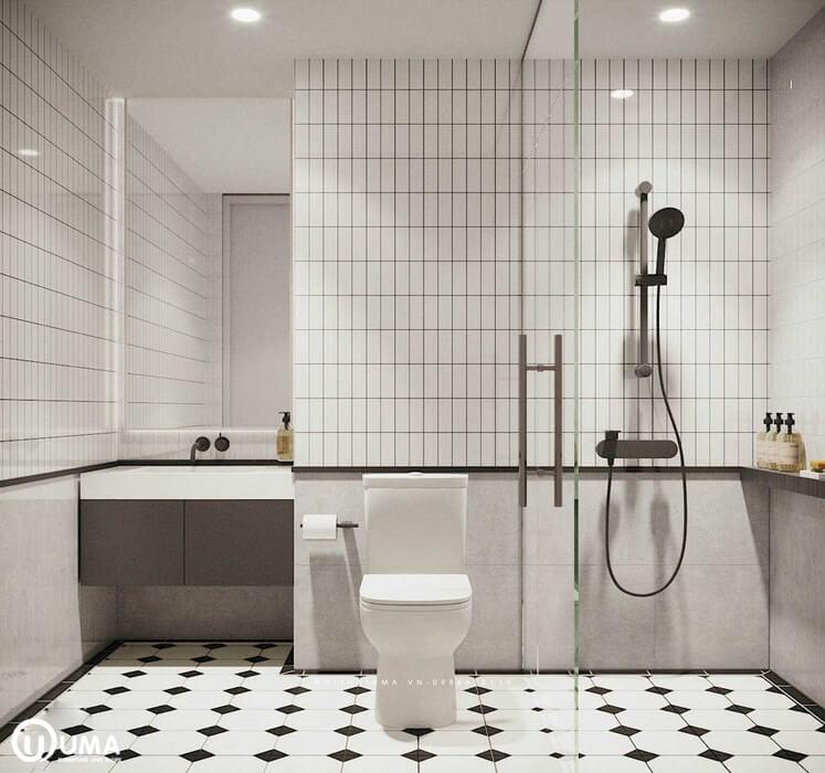 Đi vào phòng vệ sinh tuy với diện tích nhỏ hẹp, nhưng được trang bị đầy đủ các thiết bị trong dó. Tất cả đều tạo ra một sắc thái sang trọng, hiện đại và tiện ích.
