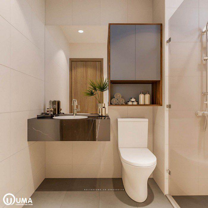 Phòng vệ sinh được bố trí ngay trong khu phòng ngủ, tạo ra sự riêng biệt. Với lối thiết kế hiện đại, và tiện ích