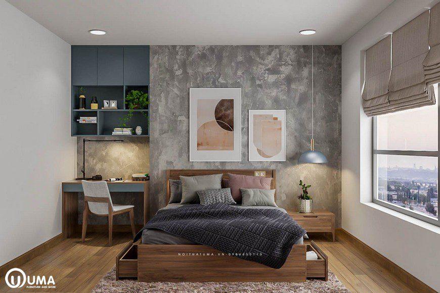 Chiếc giường được đặt trên thảm lông giữa phòng, tạo ra điểm nhấn đặc biệt.