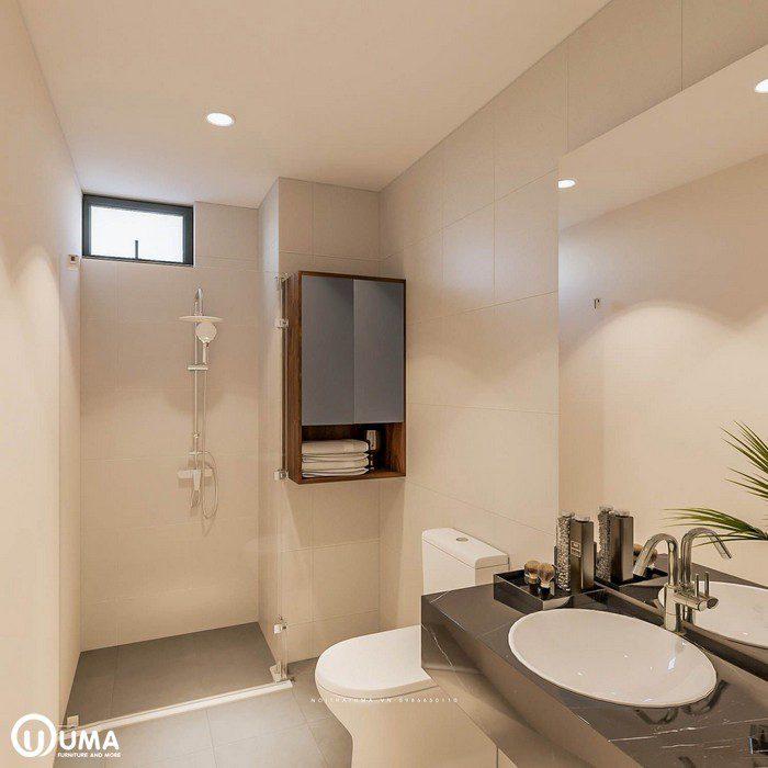 Không gian phòng vệ sinh trong phòng ngủ được thiết kế cung khá tiện ích và đầy đủ, sử dụng thiết bị thông minh.