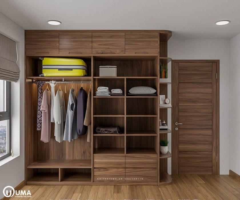 Chiếc tủ được thiết kế với nhiều ngăn để đồ, khá tiện ích và thông minh.