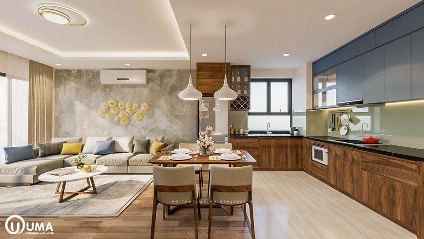 Ngăn cách giữa không gian phòng bếp và phòng khách là chiếc bàn ăn cho 4 người dùng