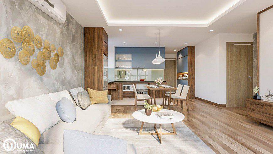 Nội thất với tone màu chủ đạo màu trắng, cùng với bộ sofa được xếp vào tường