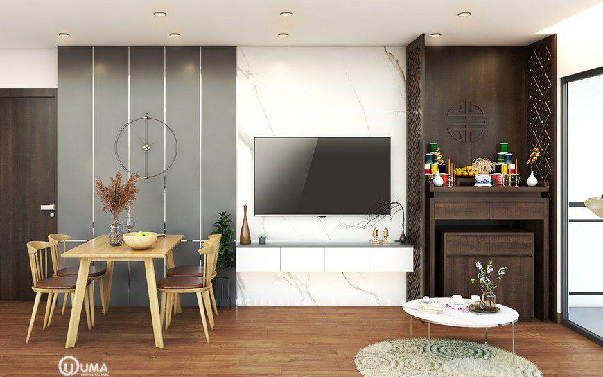 Thiết kế nội thất phòng khách nhà cô Lê
