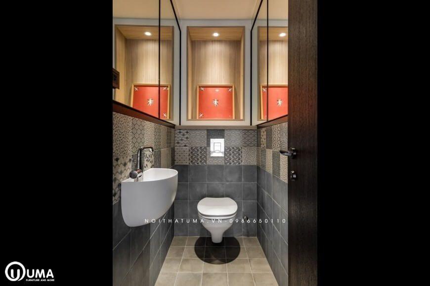 Phòng vệ sinh cũng được thiết kế khá ấn tượng, và gọn nhẹ