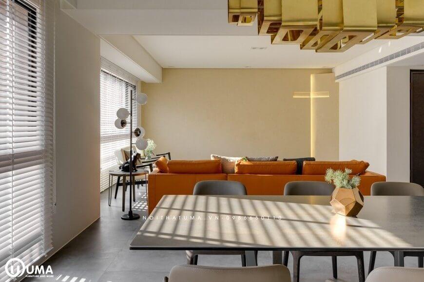 Khoảng không bắt gặp, từ phòng ăn, lên phòng khách đã tạo ra sự thống thoáng, tiện ích và liền mạch trong căn hộ.