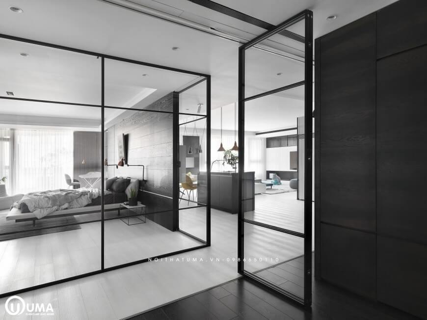 Các không gian liên hoàn với nhau, được ngăn cách bởi cửa kính cao cấp