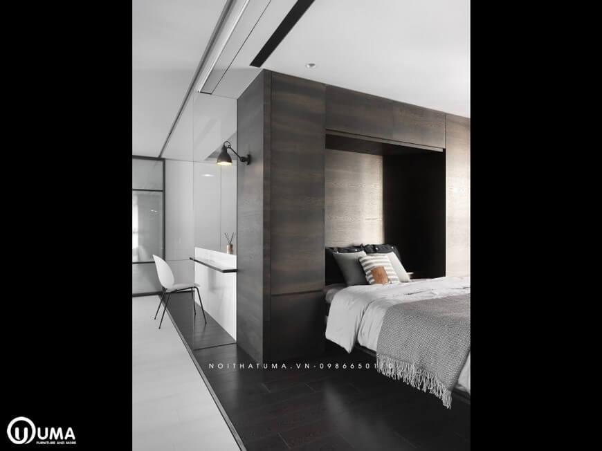 Phòng ngủ vẫn nhấn mạnh với tông màu trắng và đen để tạo ra sự đồng nhất cho không gian thiết kế