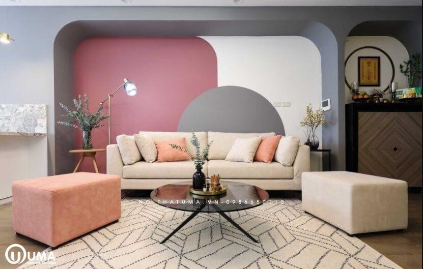 Gia chủ lựa chọn với tông màu hồng làm màu chủ đạo cho căn phòng