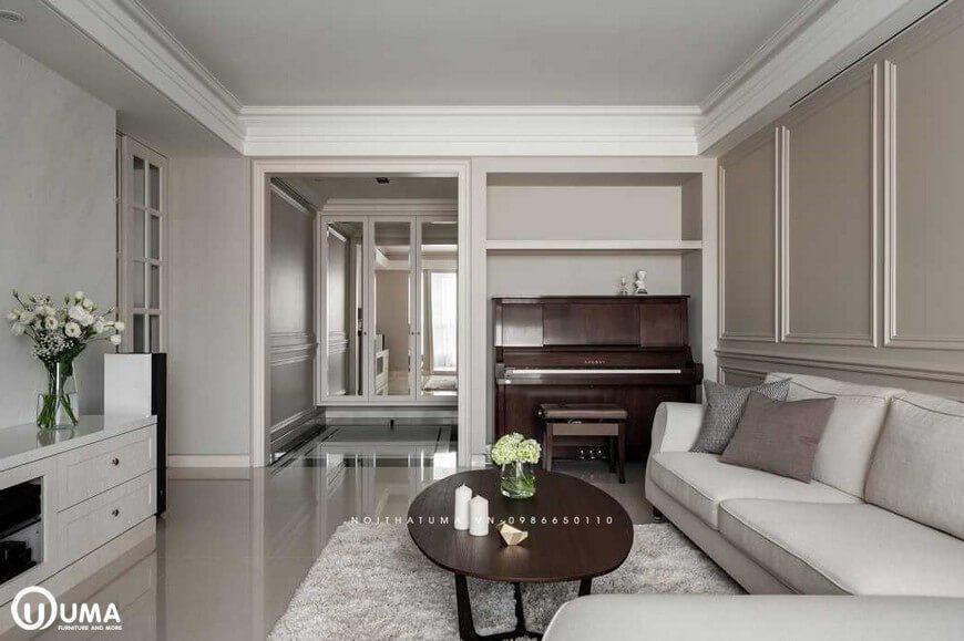 Với nối thiết kế nội thất thất tân cổ điển sử dụng tông màu trắng, mang lại sự sang trọng, lịch lãm trong căn phòng.