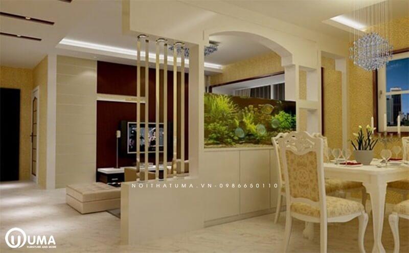 Mẫu vách ngăn được làm bằng bê tông giữa phòng khách và phòng ăn