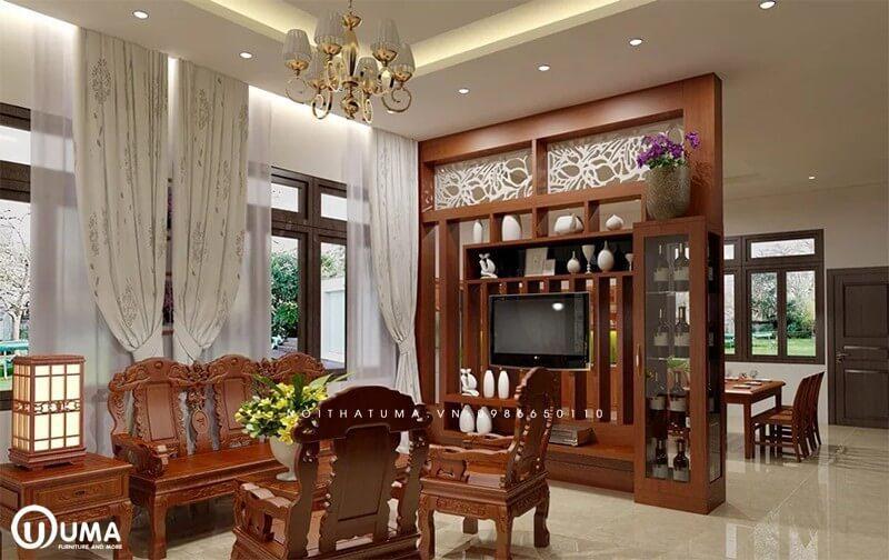 Vách ngăn bếp và phòng khách bằng gỗ tự nhiên