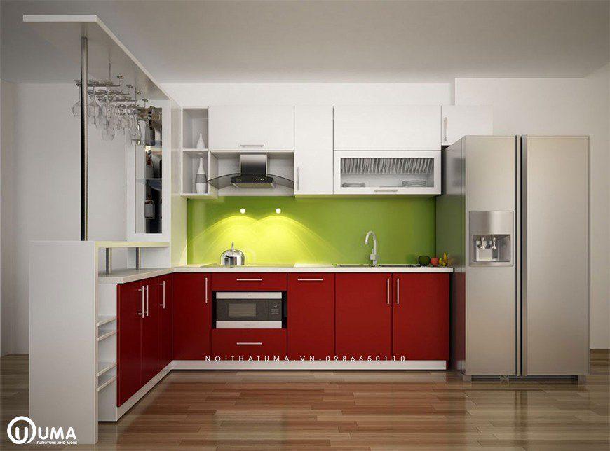 Mẫu tủ bếp công nghiệp Acrylic tại Thanh Trì