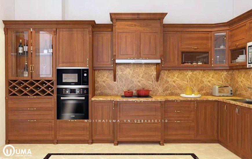 Mẫu tủ bếp gỗ tự nhiên Gõ Đỏ tại Đông Anh