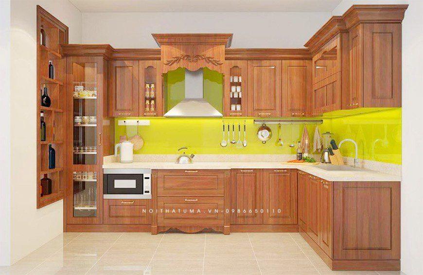Mẫu tủ bếp gỗ tự nhiên Gõ Đỏ tại Hai Bà Trưng