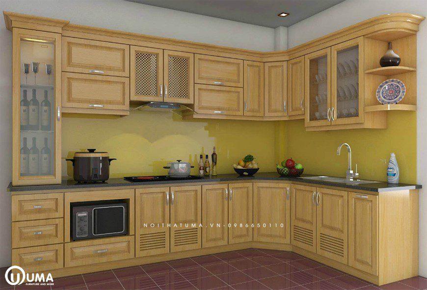 Mẫu tủ bếp gỗ tự nhiên Sồi Nga tại Đông Anh
