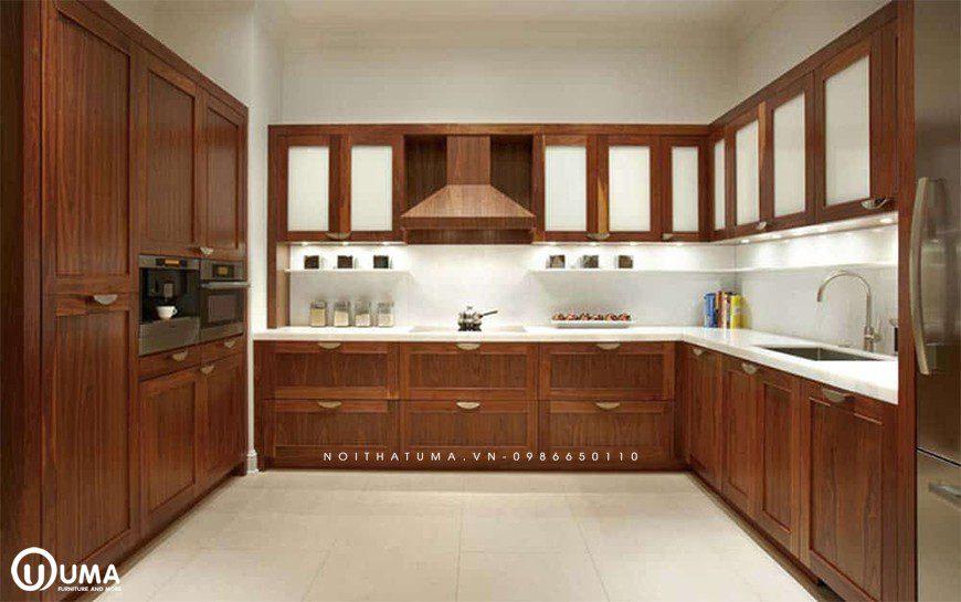 Mẫu tủ bếp gỗ tự nhiên Xoan Đào tại Bắc Từ Liêm