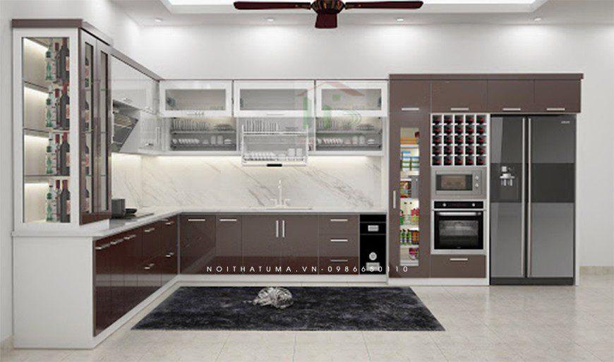 Mẫu tủ bếp thùng Inox chữ L tại Hai Bà Trưng