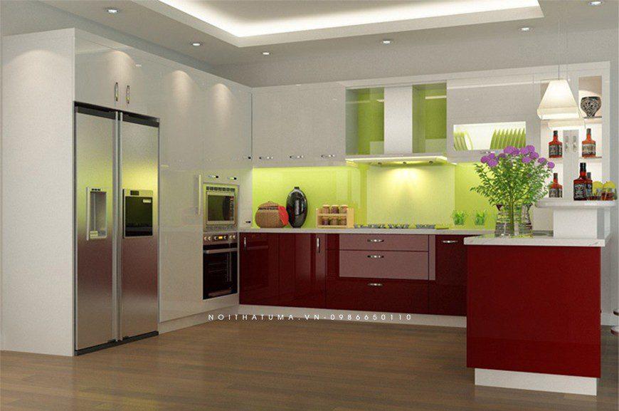Mẫu tủ bếp thùng Inox chữ U tại Hai Bà Trưng