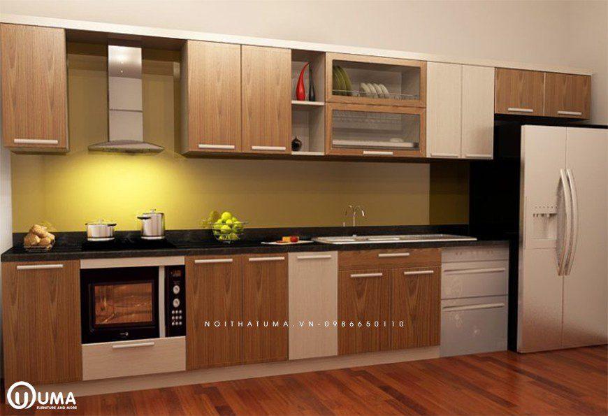 Mẫu tủ bếp thùng Inox chữ I tại Đông Anh
