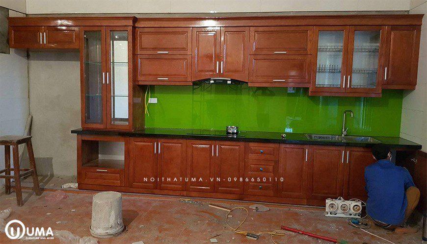 Mẫu tủ bếp thùng Inox chữ I tại Gia Lâm