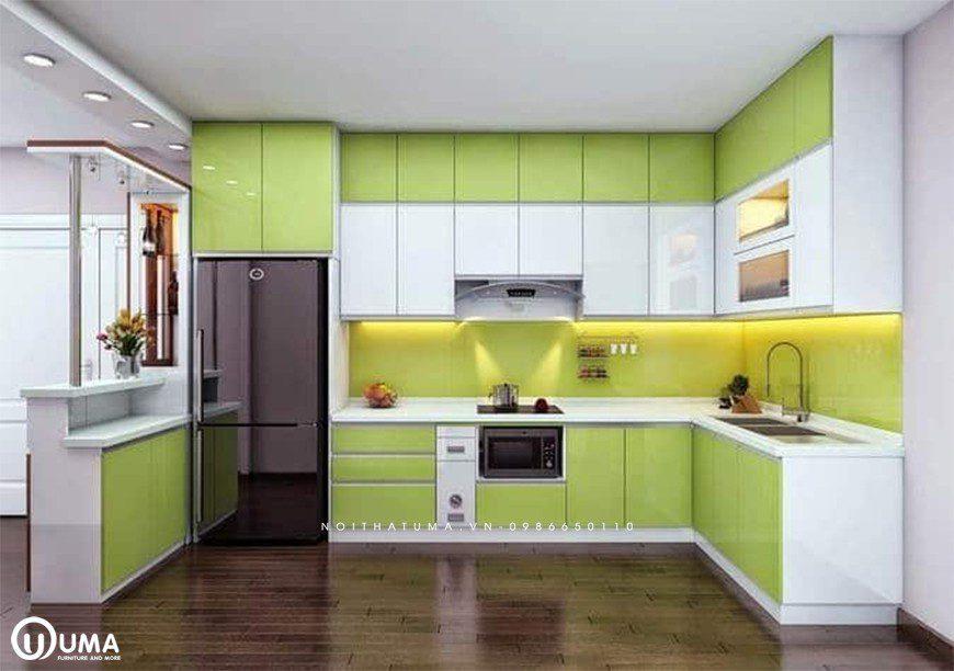 Mẫu tủ bếp thùng Inox chữ U tại Đông Anh